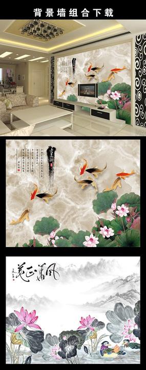 精品最新中国风水墨荷花电视背景墙图片设计下载