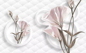 现代田园简约马蹄莲百合郁金香花卉3D立体圆圈圆环菱形软包背景墙