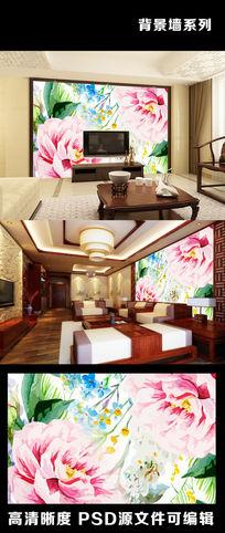现代花朵花卉手绘油画欧美风格电视背景墙