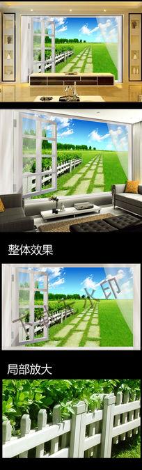 3D窗外风景电视背景墙