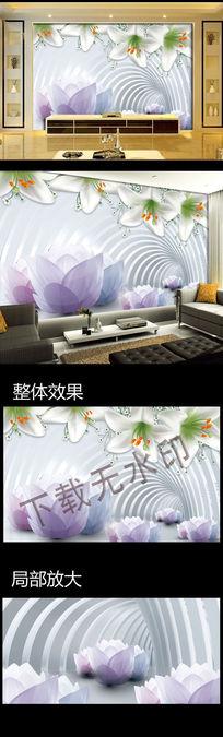 3D花朵电视背景墙