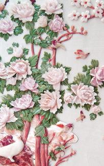 彩雕蔷薇花复古玉雕背景墙优雅的玄关