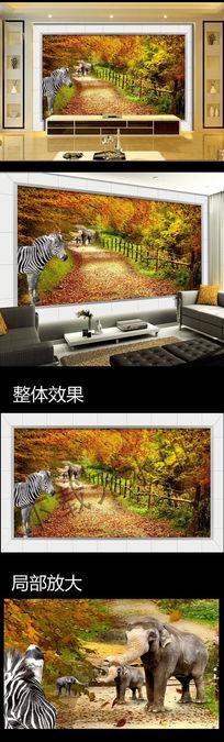 大象野生动物风景道路背景墙图片下载