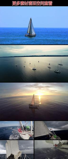 海上帆船乘风破浪高清实拍视频素材