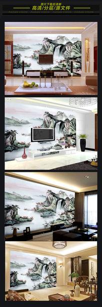 开运山水风景画背景墙