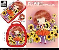 可爱卡通阳光少女童包图案手机套图案PSD