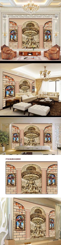 欧式风格罗马柱雕像电视背景墙