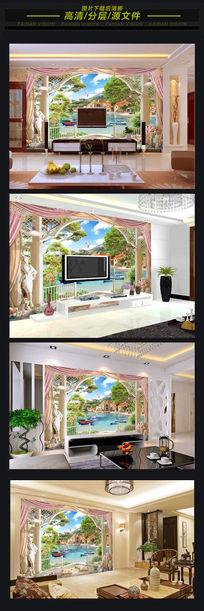 唯美欧洲景色3D背景墙