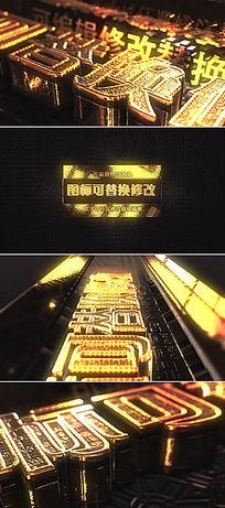 震撼大气金黄色三维立体logo片头模版