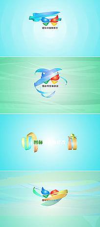 8款三维彩条logo展示开场片头视频模板