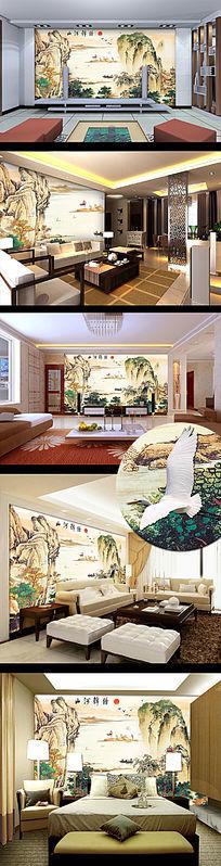 锦绣山河国画电视背景墙
