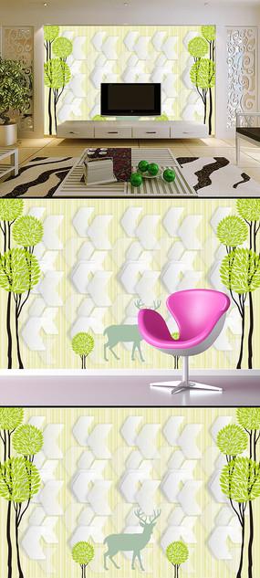 麋鹿抽象树创意3D电视背景墙