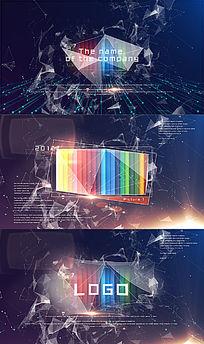 plexus粒子线条科技logo图片展示AE模板动画