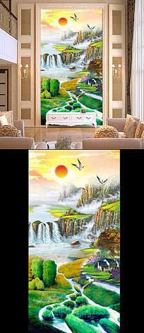 山水国画风景画油画客厅画玄关