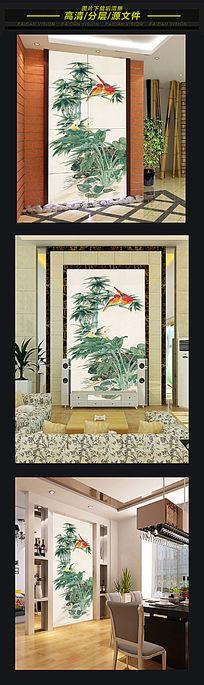 中国风鸟语花香3d玄关背景墙