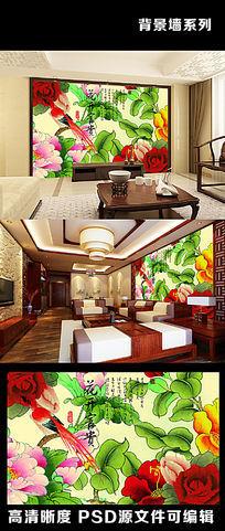 中国风中式水墨画花开富贵画眉电视背景墙