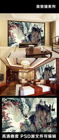 中国风水墨山水梅花腊梅中式字画电视背景墙