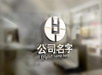 银色创意HY字母logo