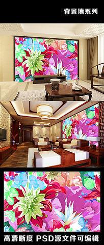 复古欧美花朵花卉牡丹国花色彩电视背景墙