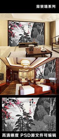 梅花腊梅中国风水墨山水中式字画电视背景墙