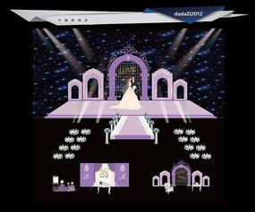 紫色主题婚礼背景设计
