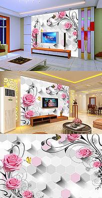 玫瑰花纹六边形立体电视背景墙