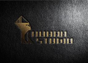 提案贴图高档皮革金色压凹标志展示logo效果图