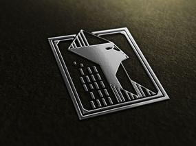 提案贴图金属高档银色标志展示logo效果图
