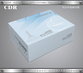 流畅线条背景汽车灯包装设计 CDR