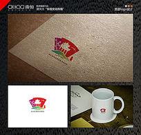 亭子旅游时尚山水扇面logo