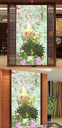玉雕花瓶玉兰中式玄关图片