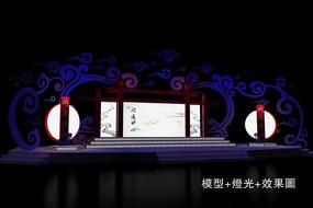 中国风舞台设计模型效果图