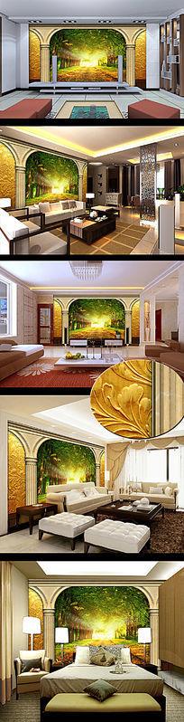 精品欧式罗马柱森林风景电视背景墙