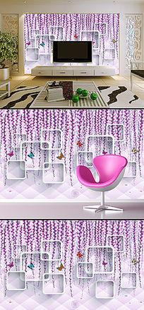 时尚简约仿软包紫藤花立体创意背景墙