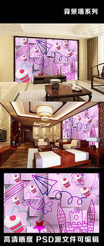 3d立体手绘飞机糖果蛋糕铅笔五角星电视背景墙