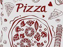 Pizza广告画墙体画ps素材