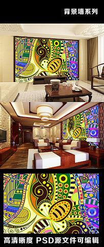 简约民族图案花纹民族风叶子树叶电视背景墙