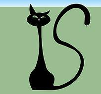 长尾巴黑猫雕塑小品