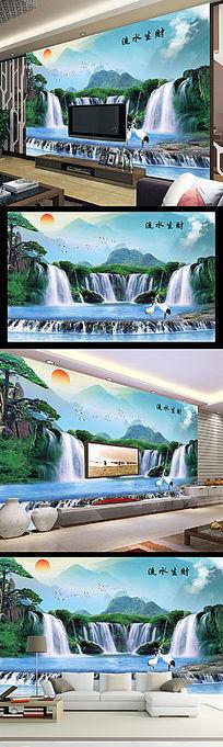 流水生财客厅电视背景墙中国画意境山水风光