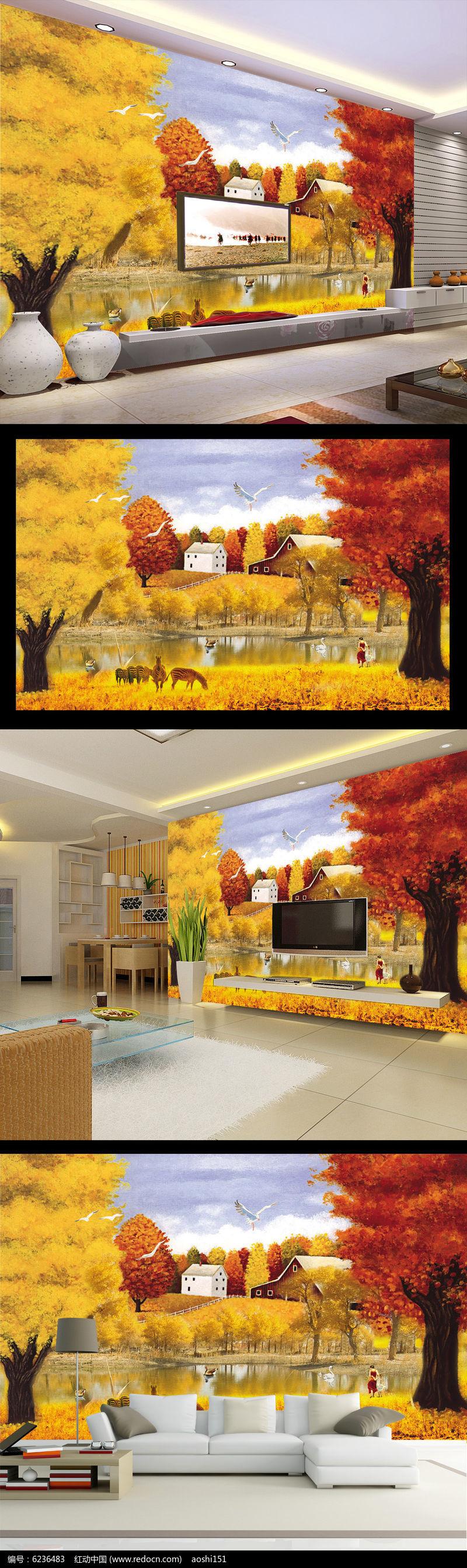 欧式山水风景油画电视背景墙壁画