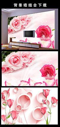 浪漫温馨粉色玫瑰花电视背景墙图片设计下载