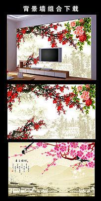 中国风梅花电视背景墙图片设计下载