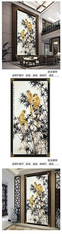 金猴啃竹玄关背景墙