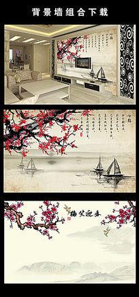 中国风梅花山水电视背景墙图片设计下载