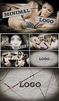 创意照片碎片快速拼接折纸企业标志LogoAE模板