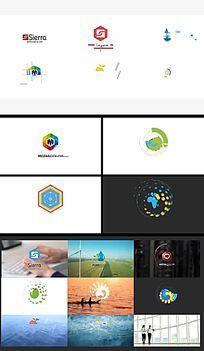简洁扁平光晕公司企业Logo展示片头AE模板