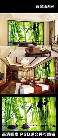 绿色自然竹子水墨字画雨花石电视背景墙