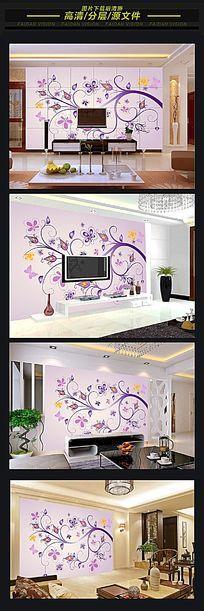 现代简约植物花纹背景墙