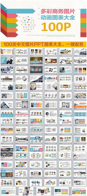 精美100页全图片动画中文商务PPT图表