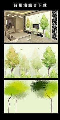手绘大树清新简洁电视背景墙图片设计下载